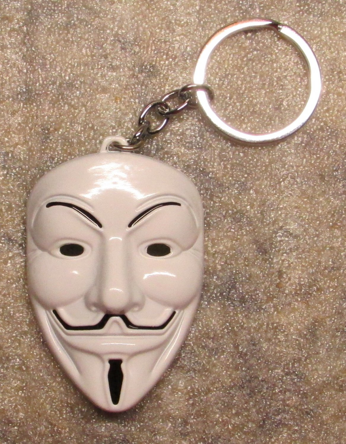 ANONYMOUS Guy MASK V for Vendetta White Color Metal KEY CHAIN Ring Keychain NEW