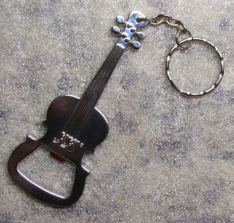 GUITAR Base VIOLIN Silver Metal KEY CHAIN Ring Keychain NEW