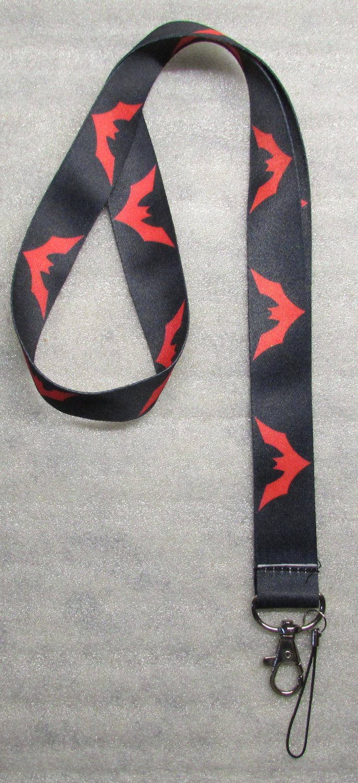 Black Red BAT Batman LANYARD KEY CHAIN Ring Keychain ID Holder NEW