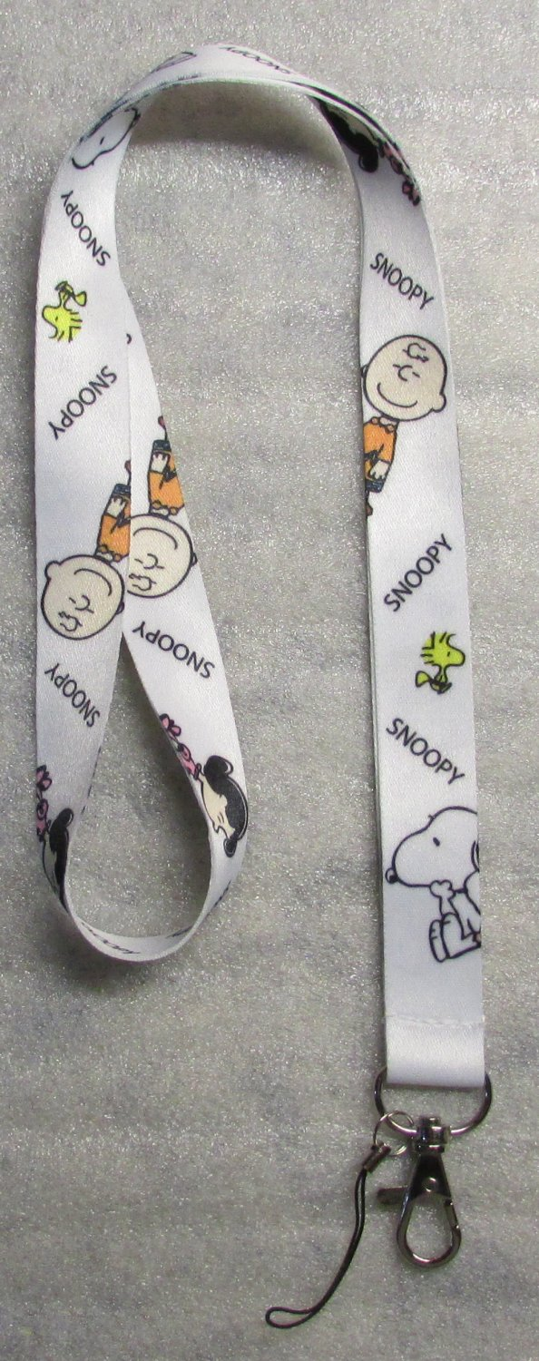 Peanuts SNOOPY Charlie Brown White LANYARD KEY CHAIN Ring Keychain ID Holder NEW