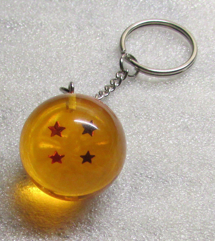 1 Inch DragonBall Z 4 Four Star Crystal Acrylic KEY CHAIN Ring Keychain NEW