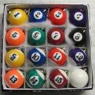 1.25 Inch w Cue Box of 16 Mini Billiard POOL BALL Snooker KEY CHAIN Ring Keychains NEW
