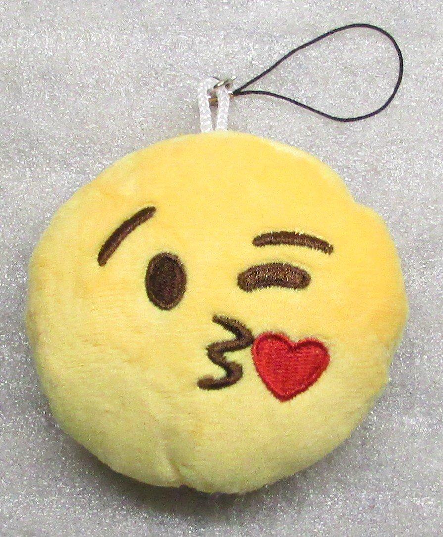 Emoji 3 in HEART Emoticon KISSING Soft Cloth Yellow KEY CHAIN Keychain NEW