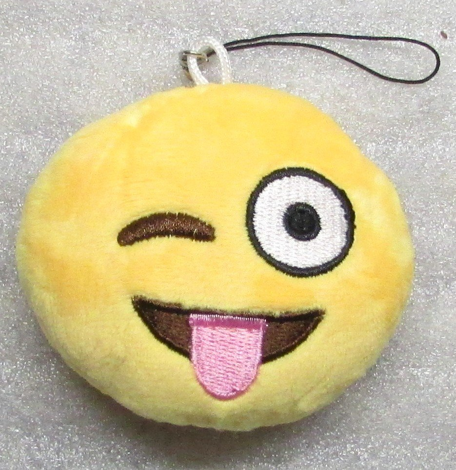 Emoji 3 in WINK Emoticon TONGUE OUT Soft Cloth Yellow KEY CHAIN Keychain NEW