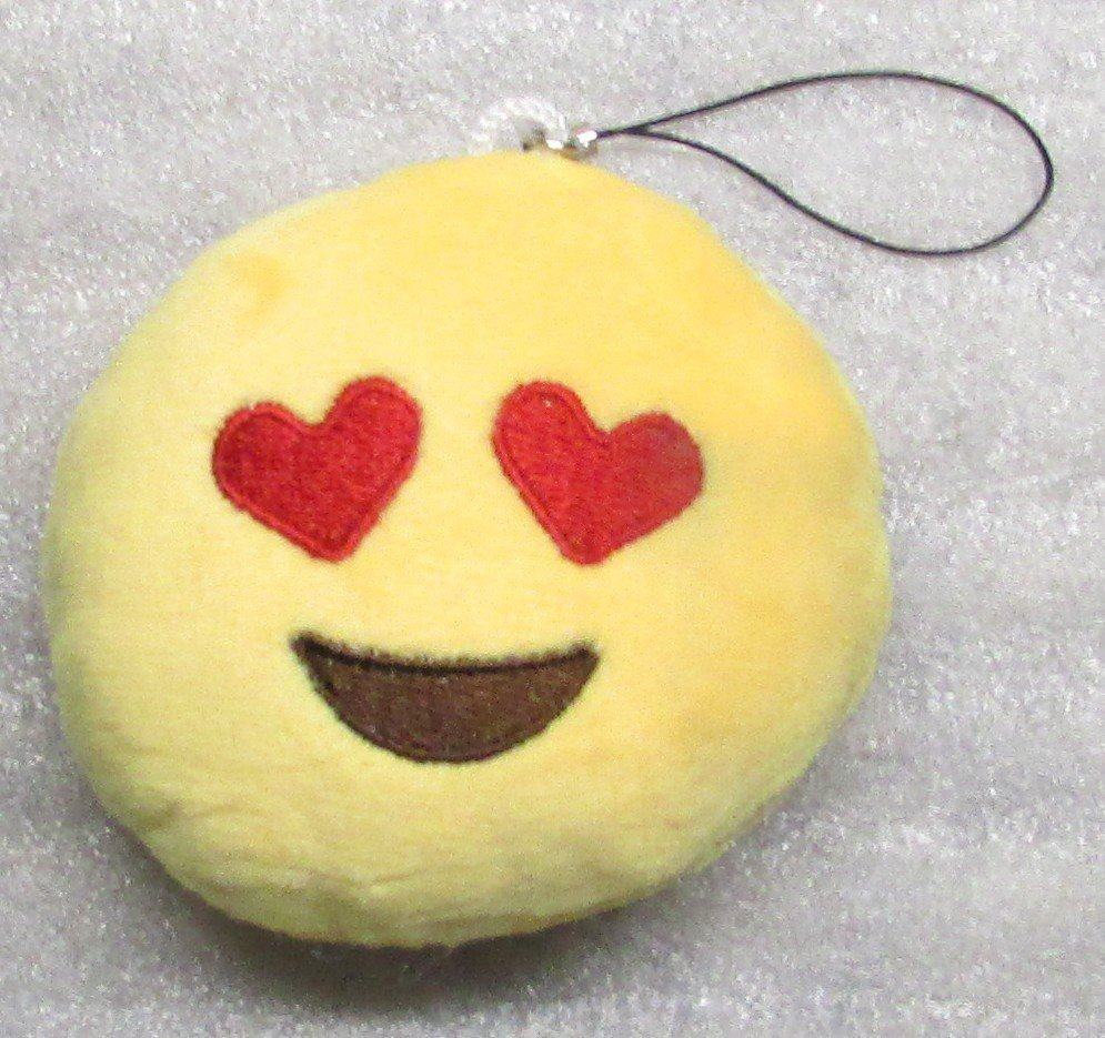 Emoji 3 in LOVE Emoticon HEARTEYES Soft Cloth Yellow KEY CHAIN Keychain NEW