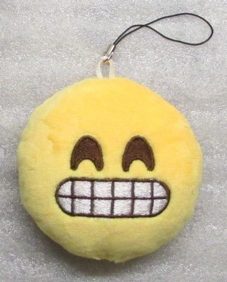 Emoji 3 in SMILEY Emoticon SMILING Soft Cloth Yellow KEY CHAIN Keychain NEW