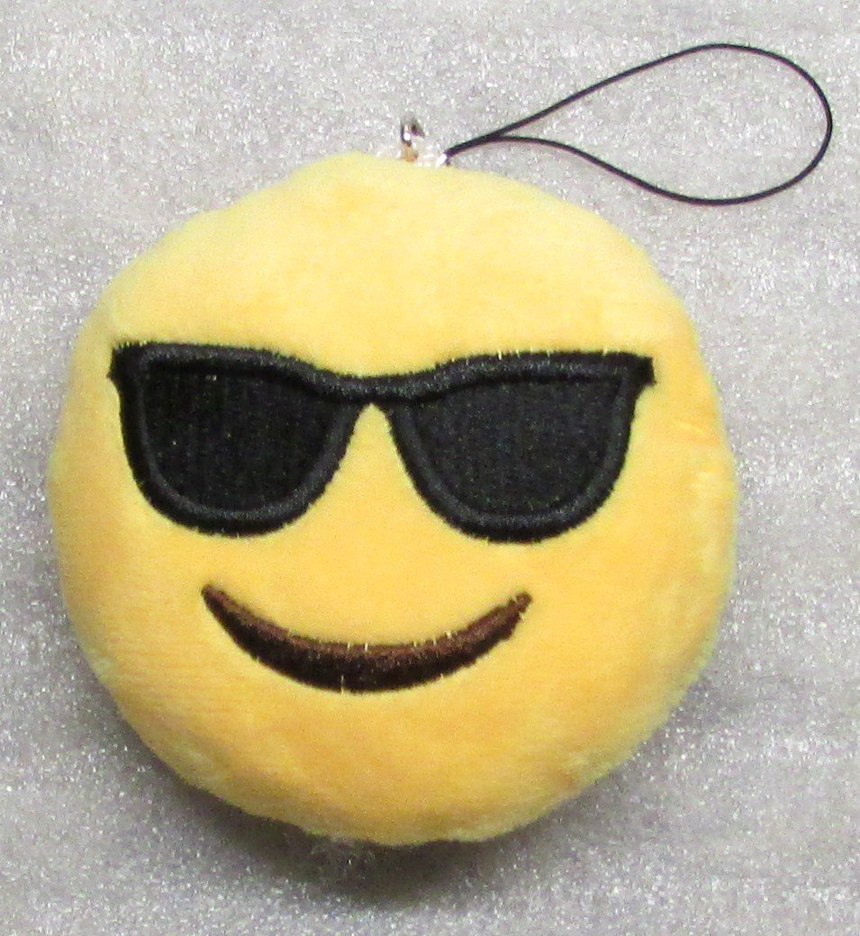 Emoji 3 in SUNGLASSES Emoticon COOL Soft Cloth Yellow KEY CHAIN Keychain NEW