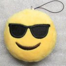 Emoji 3 in SUNGLASSES Emoticon COOL Soft Cloth Yellow KEY CHAIN Keychain NEW