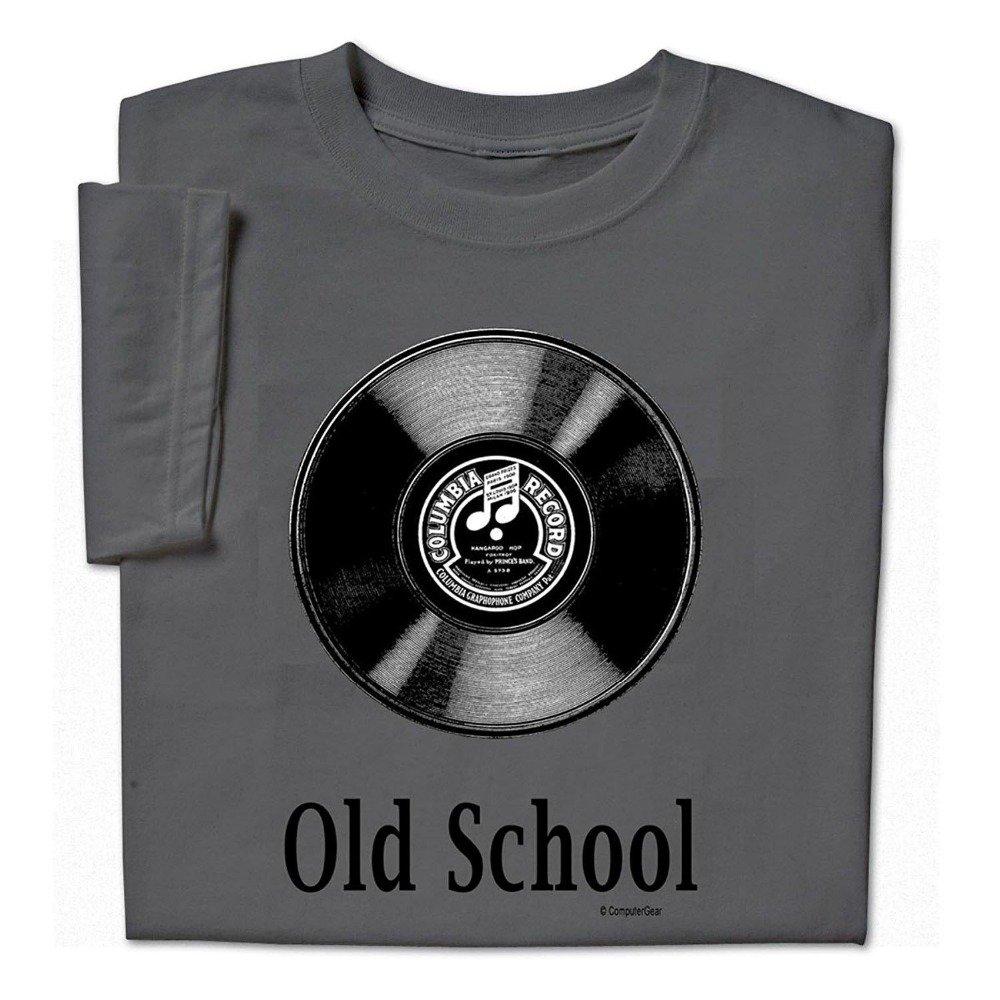 OLD SCHOOL T Shirt w Vinal LP Record Album Photo Mens Short Sleeve XXL NEW