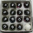 1 Inch w Cue Box of 16 Sparkle POOL BALL Billiard KEYCHAIN Ring Key Chains NEW