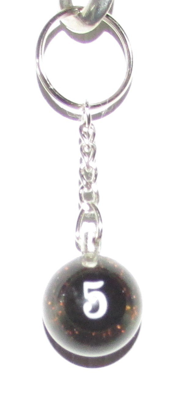 1 Inch Number 5 FIVE SPARKLE Mini POOL BALL Billiard Snooker KEYCHAIN Ring NEW