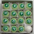 1 Inch w Cue Box of 16 Luminous POOL BALL Billiard KEYCHAIN Ring Key Chains NEW