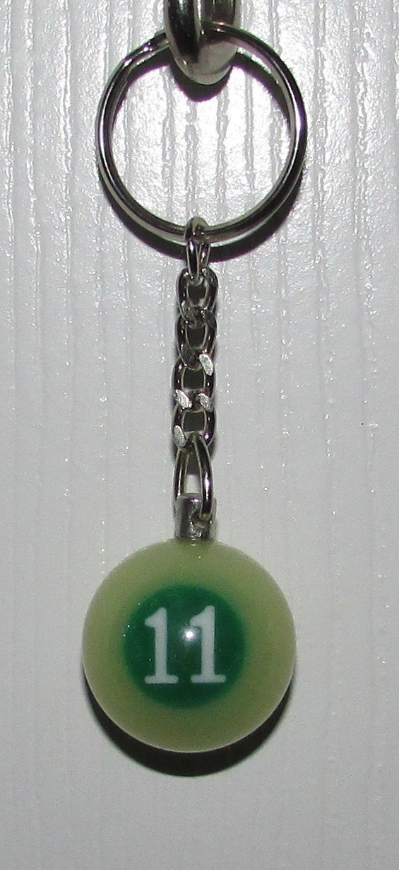 1 Inch Number 11 ELEVEN LUMINOUS Mini POOL BALL Billiard KEYCHAIN Ring NEW