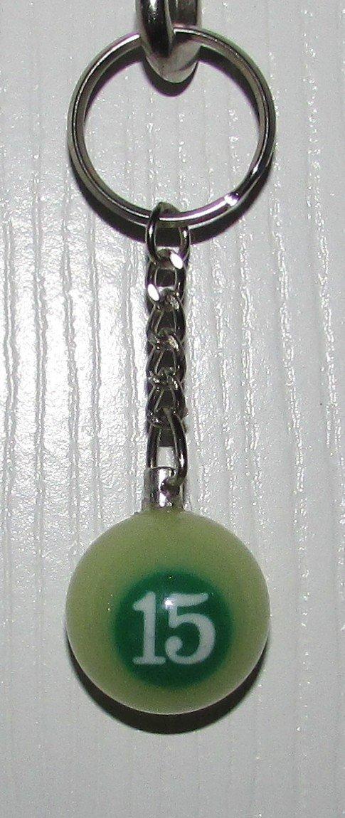 1 Inch Number 15 FIFTEEN LUMINOUS Mini POOL BALL Billiard KEYCHAIN Ring NEW