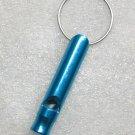 Aluminum Alloy Mini Bottle Shape Light Blue EMERGENCY WHISTLE KEY Ring CHAIN NEW