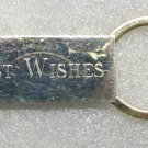 BEST WISHES Rectangle Gold Bar KEY CHAIN Ring Keychain