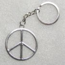 Vintage PEACE SIGN Silver Metal KEY CHAIN Ring Keychain NEW