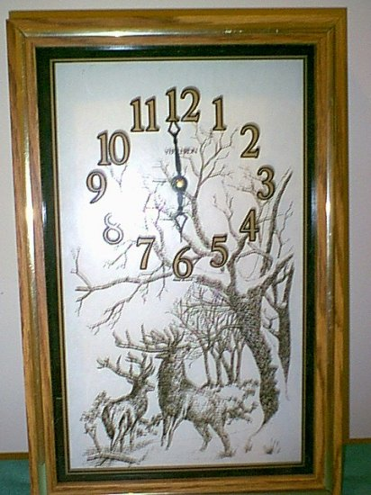 Glass Panel Elk Clock
