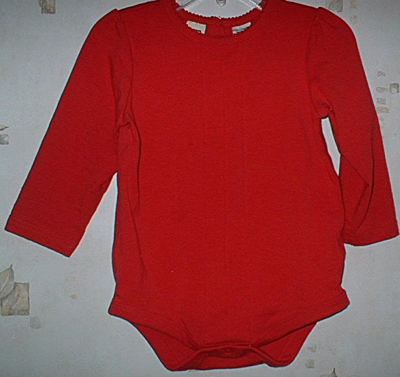 Faded Glory 24mth Pintucked Red bodysuit LN