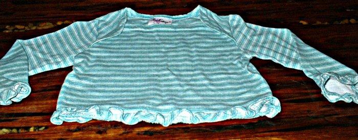 Girls Long Sleeve Green Striped Ruffle Hem Shirt 18 mth