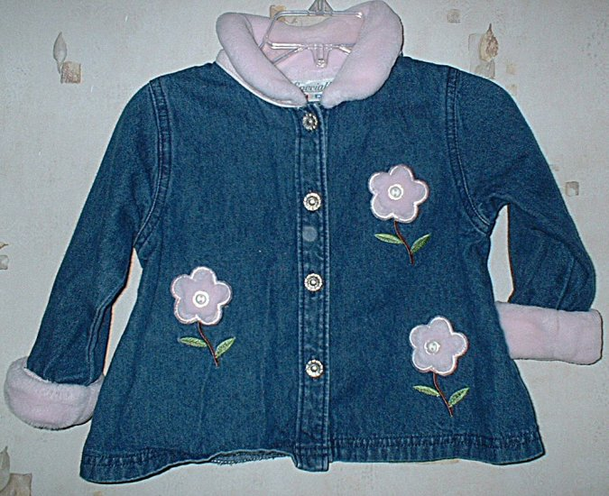 18 Mth Denim shirt with Fleece collar, cuffs, and accents