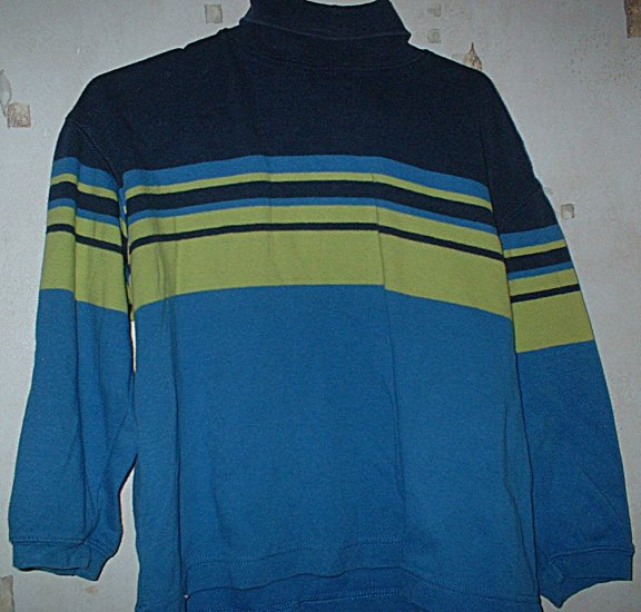 Size 4 Blue and Green Stripe Gap Turtleneck XS