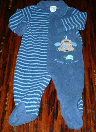 6-9mth Footed Blue Striped Puppy Peek A Boo Pajamas