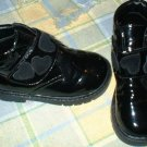 Girls Black PVC Vinyl Ankle Boots with Suede hearts Toddler 6