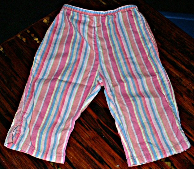 Girls Pink, Blue, Yellow Candy Striped Capris 3T