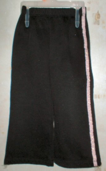 Girls 24mth Black Wide Leg Pants with Pink Side Stripe
