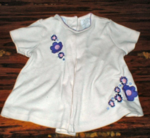 Girls Cream Swing Top with Purple Flowers 2T