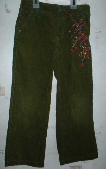Girls Wide Leg Vine Embroidered Cords Adjustable Waist sz 7