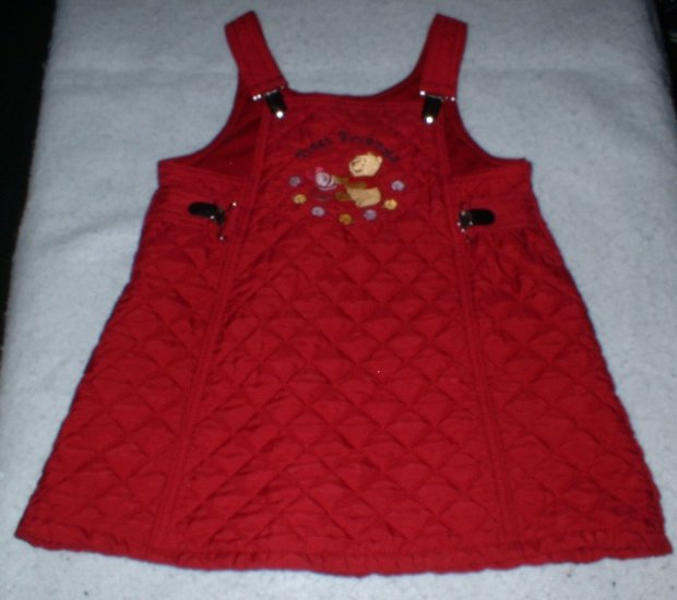 Girls Maroon Quilted Winnie The Pooh Dress 3T