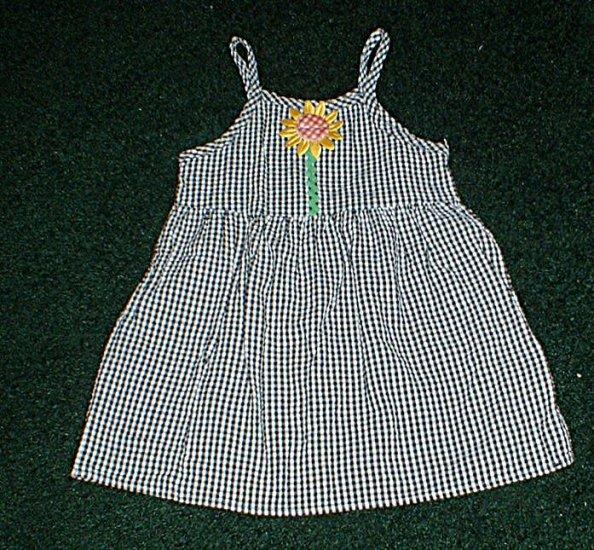 Girls 2T Black and White Sunflower Sundress