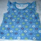 Girls 2T Blue Flowered Tank Shirt with Ruffles