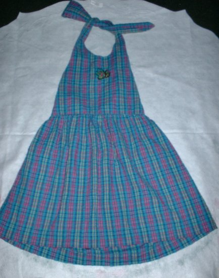Girls 4 5 Blue and Pink Plaid Halter Dress