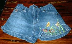 Girls Denim 5pocket Embroidered Shorts 3T