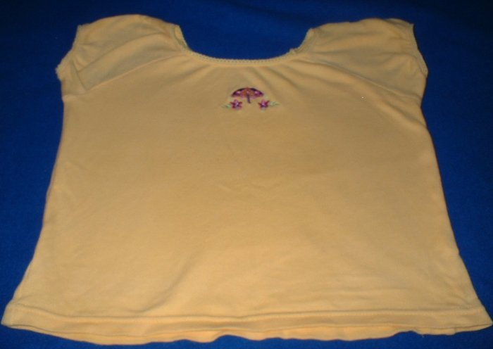 Girls Yellow Top with Capped Sleeves and Embroidery 3T
