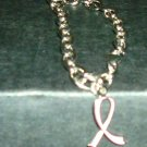 Silvertone Link Bracelet with Breast Cancer Ribbon Charm