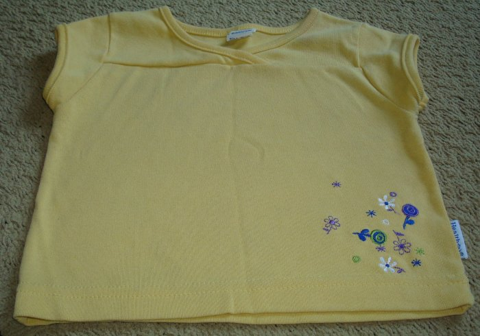 Girls Yellow Mock Wrap Shirt with Embroidery 2T