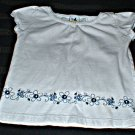 Girls White Cap Sleeve Top with Scrollwork 2T