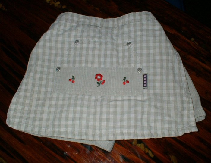 Girls Cute Khaki Scooter Skort with Embroiderey 2T