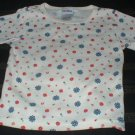 Girls Red and Blue Flowered Shirt 2T