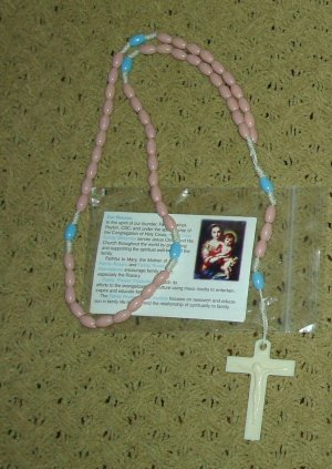 NIP Dusty Rose & Blue Rosary Free Shipping