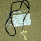 NIP Black and Gold Rosary Free Shipping