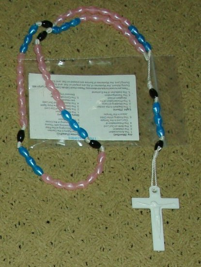 NIP Pink, Cerulean & Black Rosary Free Shipping