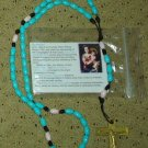 NIP Blue White Black & Gold Rosary Free Shipping