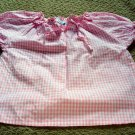 Girls Pink Checkered Peasant Style Top 3T