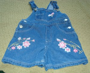 Girls Denim Overalls with Pink Embroidery 3T