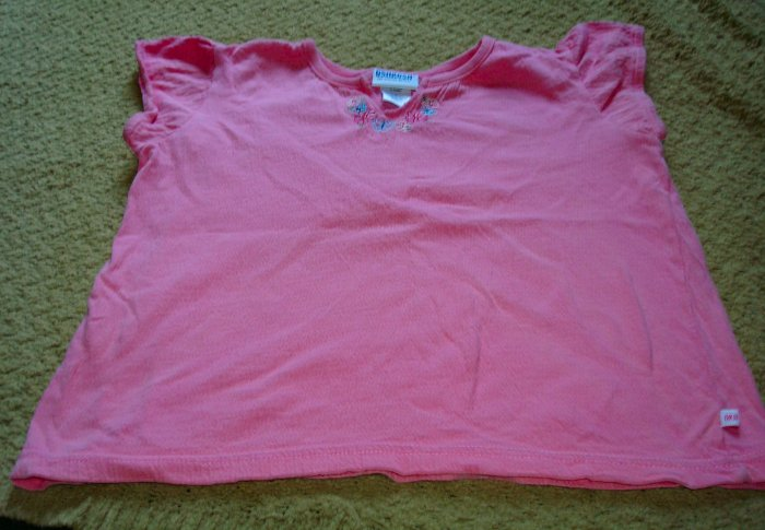 Girls Textured Pink Top With Embroidery sz 6
